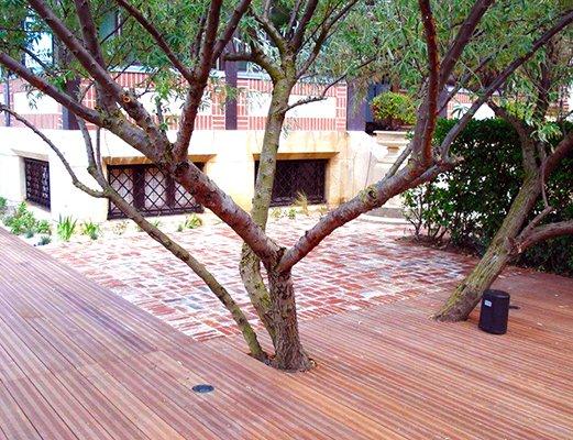 Terrasse brique et bois